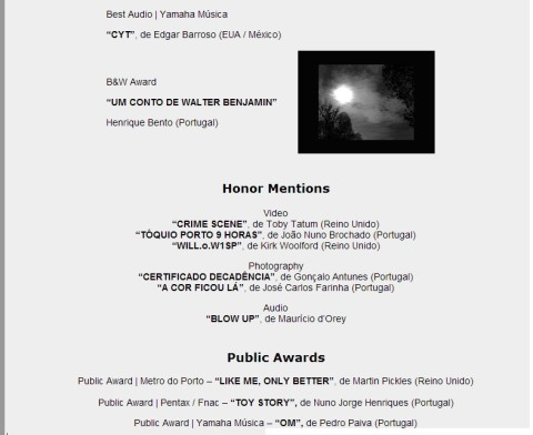 """CYT"" Best Audio Work award at 5th International Black&White Audiovisual Festival"