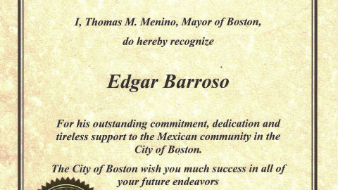 The City of Boston – Certificate of Recognition