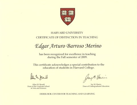 Edgar Barroso awarded with a Harvard University Certificate of Distinction in Teaching
