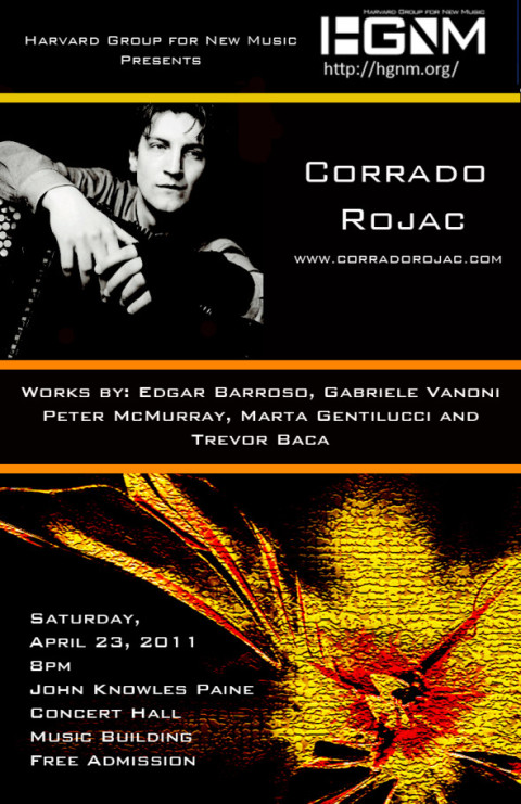 """Corrado Rojac Premieres """"Metric Expansion of Space"""" by Edgar Barroso for Amplified Accordion at Harvard University. April 23, 2011."""
