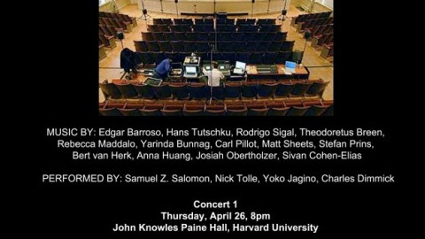 "Percussionist Samuel Z. Solomon premieres ""Ataraxia"" by Edgar Barroso for percussion and live electronics at the John Knowles Concert Paine Hall – Harvard University / April 26, 2012"