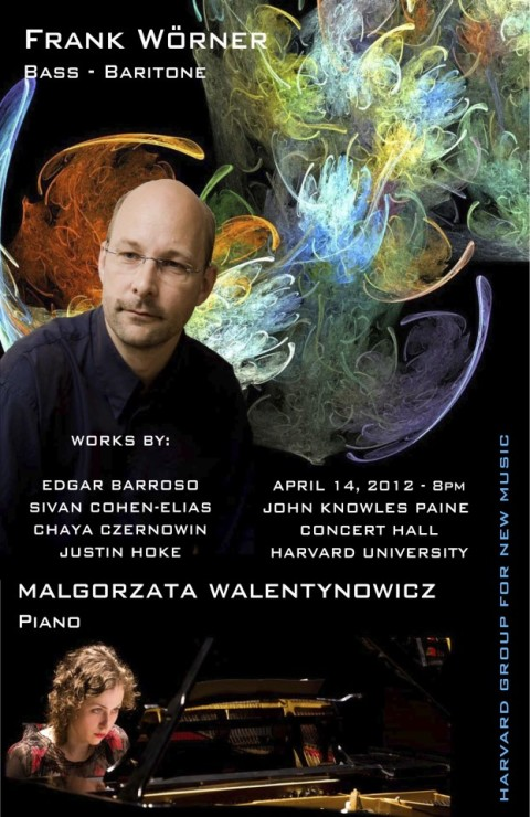 """UTTERANCE"" for Baritone and One Speaker by Edgar Barroso. Premiered by Bass-Baritone Frank Wörner. April 14, 8pm – 2012 – Harvard University, John Knowles Paine Concert Hall"