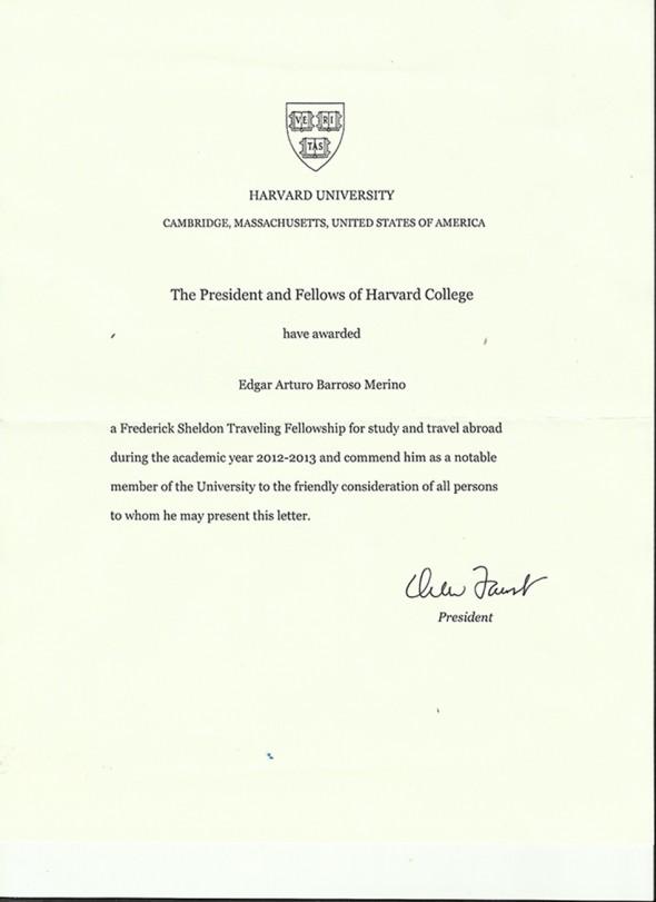 Comendation-Sheldon-Fellowship-Edgar-Barroso