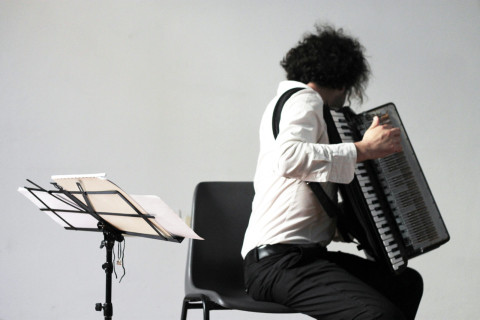 """Metric Expansion of Space"" by Edgar Barroso will be performed by accordionist Gabriele Marangoni at the Palace Moriggia – Museum of the Risorgimento in Milan. June 21, 2012"