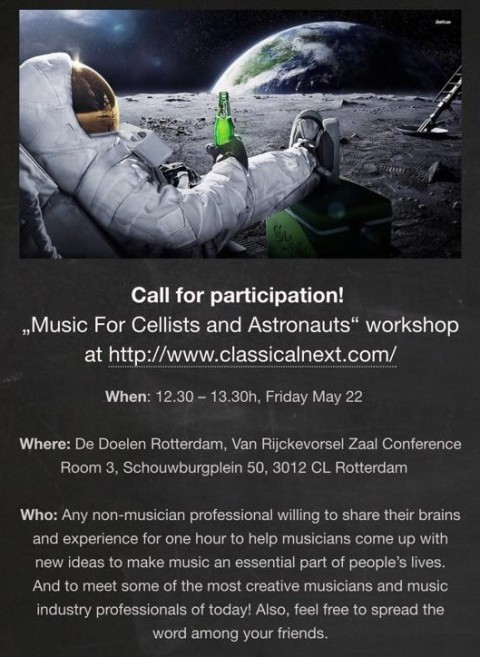 Edgar Barroso directed the transdisciplinary workshop, Music for Cellists and Astronauts, at the 2015 Classical Next meeting, in Rotterdam.