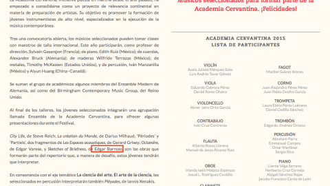 Edgar Barroso, will present Sketches of Briefness, at the XLIII Festival Internacional Cervantino